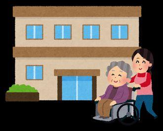 介護施設と車椅子の老女